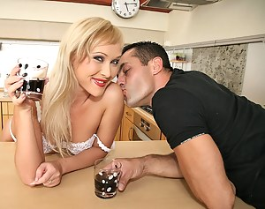 Enjoy watching this big-tittied lady having awesome solo in the bathroom and getting her holes penetrated hard in the kitchen.