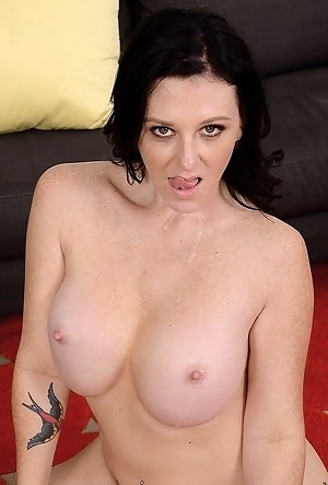 Strong man having big penis is satisfying this juicy MILF with excitement. He is drilling her mouth and vagina in front of camera.