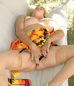 Spring fun in the sun - playing in the swing with garters and stockings and camel toes