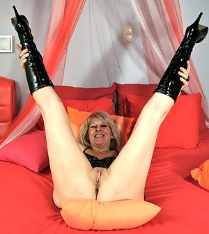Horny Blonde mature slut playing with herself