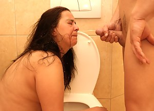 Nasty stuff going on in a public toilet