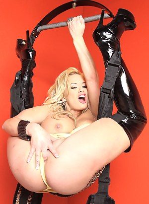 Be ready to join the strong man fucking this busty blonde in black boots. He can be torturing her ass with fingers and dick all day long.