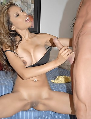 Busty MILF wearing jeans is always ready for sexual adventures. She is sucking strong penis and practicing different moves with her lover.