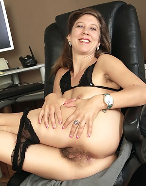 Hairy pussied Valentine from AllOver30 opens her legs wide in here