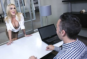 He gets things done! He had some coffee, pretended to work and got seduced by a classy-looking blonde MILF with an amazing degree of flexibility.