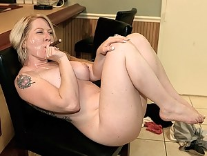 Horny lady is enjoying free time with this shameless man. He is smoking a cigar and drinking some alcohol before fucking her really hard.