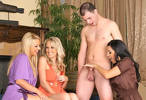 Handjobs, blowjobs and wild CFNM fucking session features three horny MILFs with big tits in their high heels and one handsome boy.