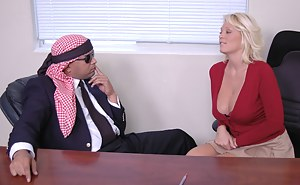 This blonde is incredibly loose with her morals and she doesn't mind fucking a Middle-Eastern dude just to make more money overseas.
