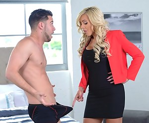 Juicy mom is sharing her babe's partner with her. They are taking sensational care of his penis and swallowing load of his tasty sperm.