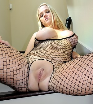 Today I wore a fishnet bodysuit knowing how much you love my curvy body in it.  Thought I'd play with my big toys. Stretching out my married pussy with them and prolapsing my tight asshole. Mr. Siren plays with my rosebud and cervix as I push them both ou