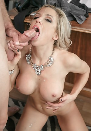 Strong guy is fucking office whore wearing sexy purple lingerie. He is drilling her twat on the table and being presented with deep blowjob.
