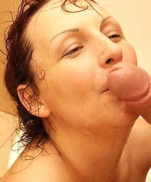 Kinky asslicking mature slut on the toilet