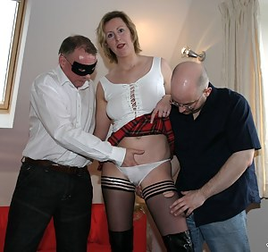 Two British studs fucking this filthy slut in stockings