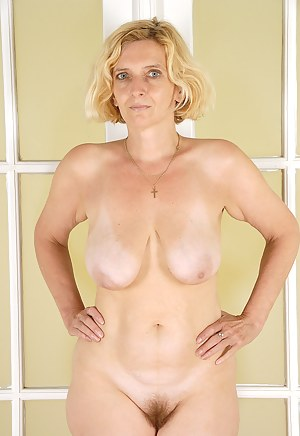 Blonde MILF Hillary shows off her 51 year old hairy beaver just for you