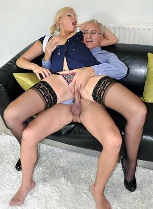 Willing blonde street slut jerking a big british pecker