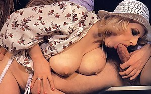 Big titted seventies lady enjoys a stiffy penis inside her