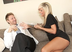 Strong man is chatting and laughing with this sensational MILF before pushing his long penis deep into her sophisticated holes.