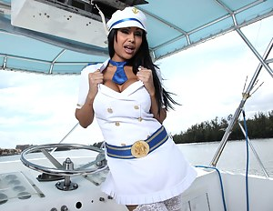 Powerful guy is enjoying sensual closeness with the Indian MILF wearing the captain's uniform. He is drilling her sweet vagina on the boat.