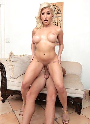 Sweet MILF is famous for her sensational boobs. Her lover is pushing his penis deep into her wet holes and jizzing on her naked body.