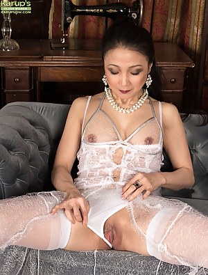 Asian wife Aya May naked in white stockings.