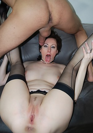 Hot redhead MILF gets fucked hard and gobbles thick goo load