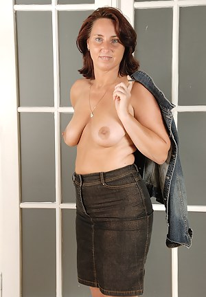 Horny housewife Demi strips off her denim and spreads her pussy wide