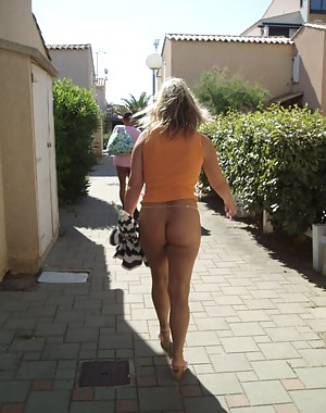Milf in public thong
