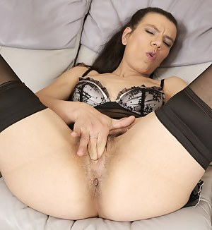 Hairy housewife getting ready to please herself