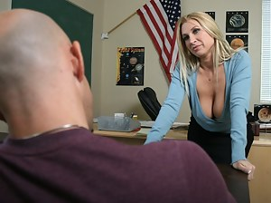 She's horny for her student's cock, especially since her student is a forty-something jacked-up bald dude. Watch this pink panties hottie take it.