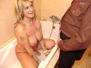 pissing on a mature slut