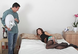 Naughty housewife playing with her hard lover