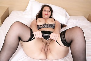 Hairy British housewife gets naughty and frisky