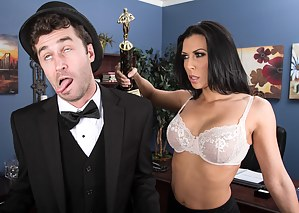 This dude is pure class, he even wears a top hat! He sees this trophy and uses it to seduce a busty brunette bombshell of a woman.