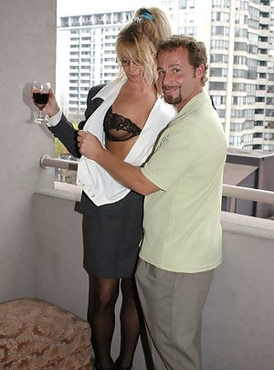 Blonde in black stockings is acting like a real pornstar. She is demonstrating her cowgirl skills and sucking her boyfriend's cock with excitement.