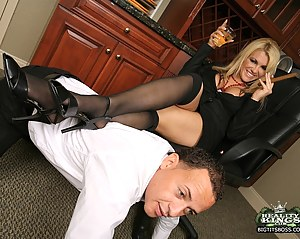 Femdom session exposing two seductive secretaries who decide that they want to fuck. Watch these cuties seduce a guy from their work for a threesome.