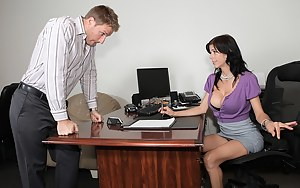Hardcore sex in doggy style position of a marvelous brunette with fake tits Alexis Fawx and her new young and attractive secretary in the office.
