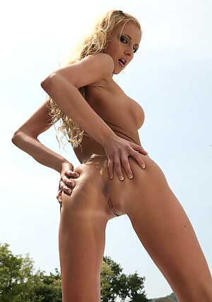 Busty pornstars are enjoying wild threesome outdoor. Lovely blonde having long legs is satisfying two clothed men with excitement.