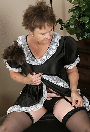 64 year old maid gets distracted and starts playing with her feathers