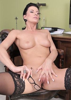 Beautiful 32 year old steno Olivia spreads her pussy wide on the desk
