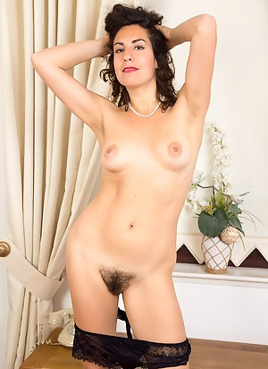 33 year old brunette housewife Isabelle showing off her hairy snatch